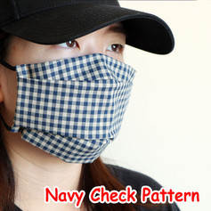 [Mysgreen-Face mask-Check] Navy Check Pa