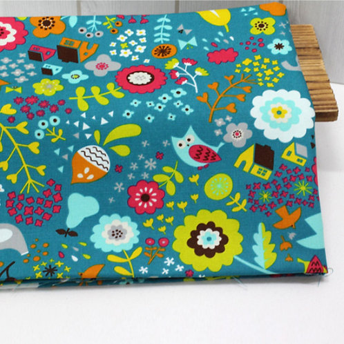 [Floral & Animal Pattern] In the forest garden, Oxford Cotton Fabric by the yard
