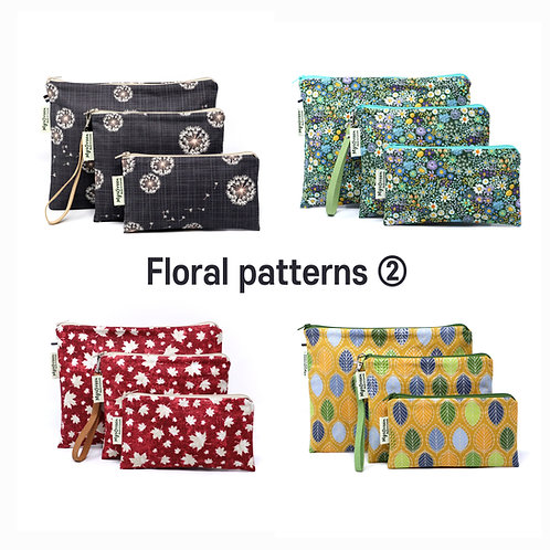 Floral, Plant print 02 Reusable pouch set Washable waterproof bag Zipper bag