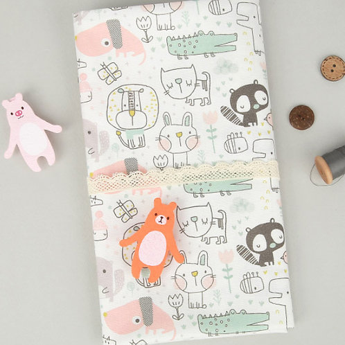 [Animal Pattern] Sweet Animals, 100% Cotton Fabric by the yard, DTP