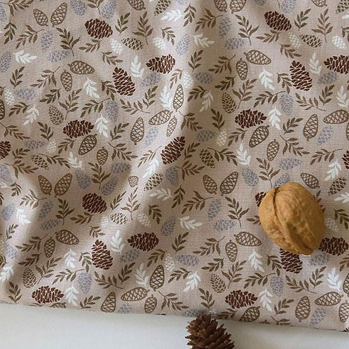[Floral Pattern] Pine cone print 100% Cotton Fabric by the yard, DTP
