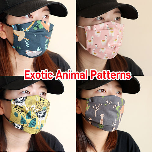 Exotic animal printed mask Reusable face mask with filter pocket Washable Cotton