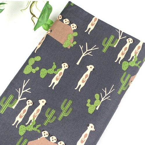 [Animal Pattern] Meerkat, 100% Cotton Fabric by the yard, Free shipping