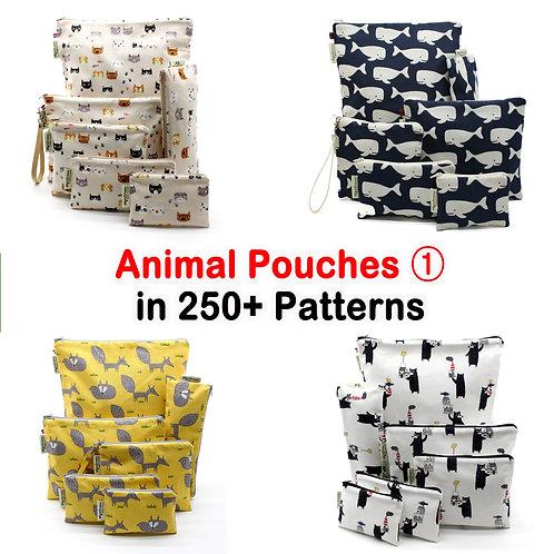 Animal patterns pouches, Reusable Waterproof Pouch, zero waste, zipper Bag,