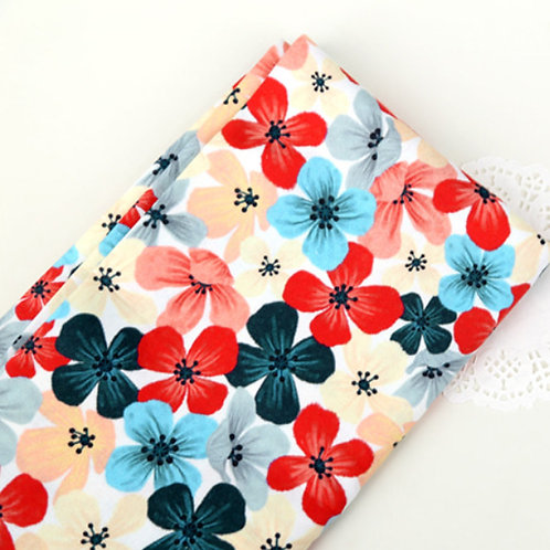 [Floral Pattern] Colorful Petals print 100% Cotton Fabric by the yard, DTP