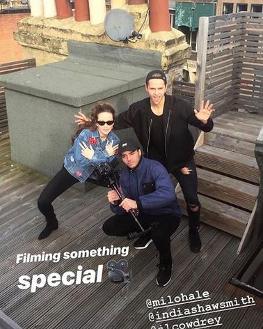 Julius filming on set