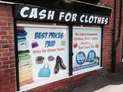 cash for clothes window graphics