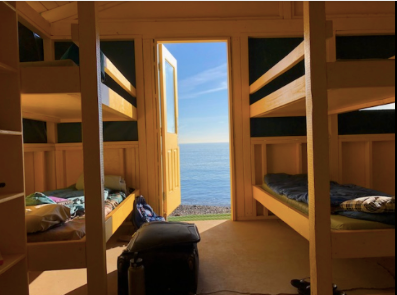 View from inside a cabin