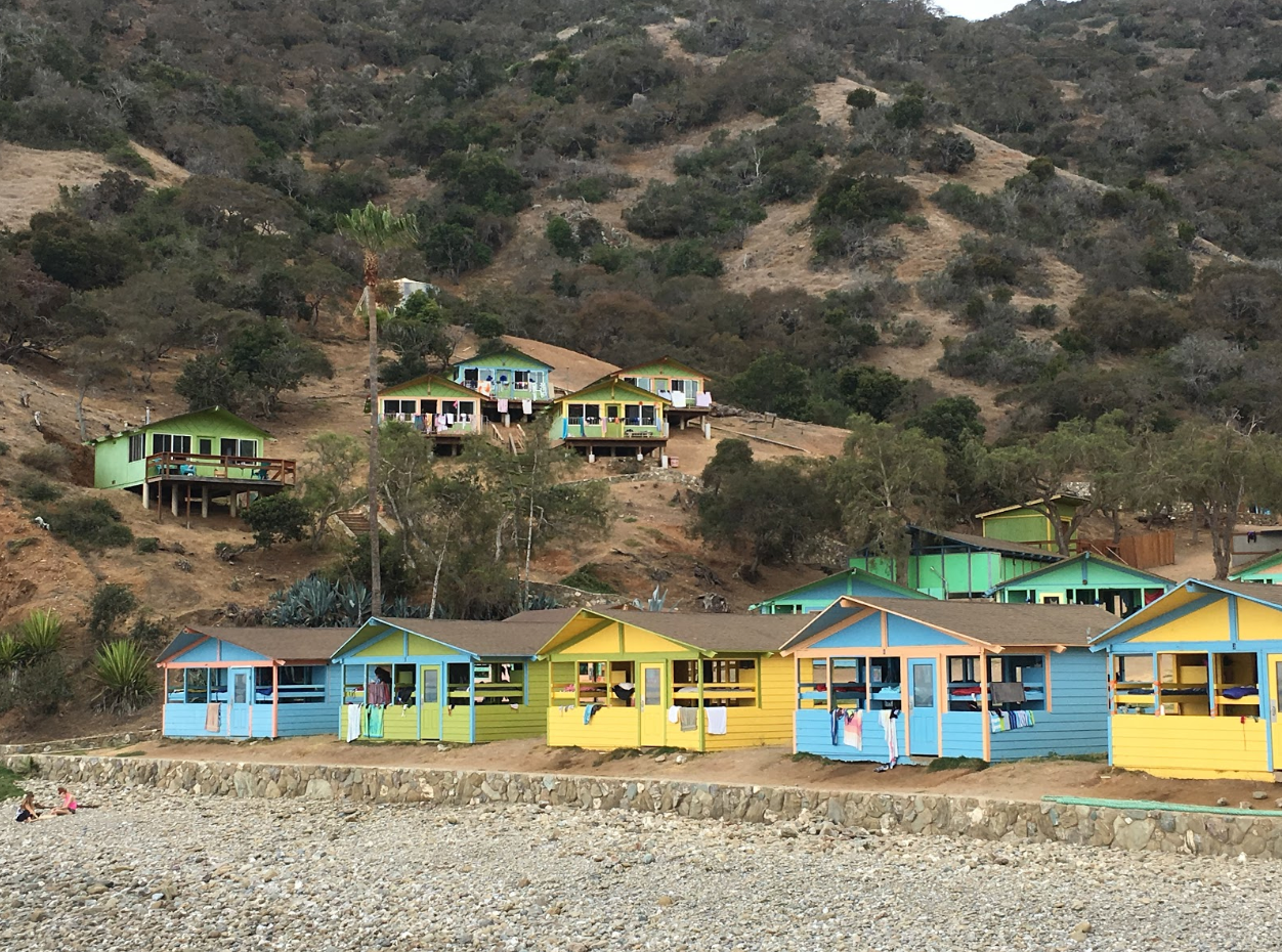 Soft sided cabins on waterfront