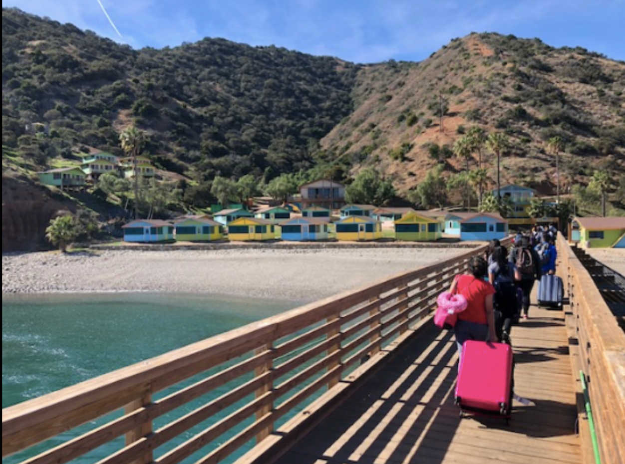 Walking the pier into camp