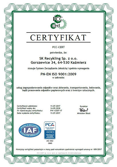 certyfikat ISO PN-EN ISO 9001:2009