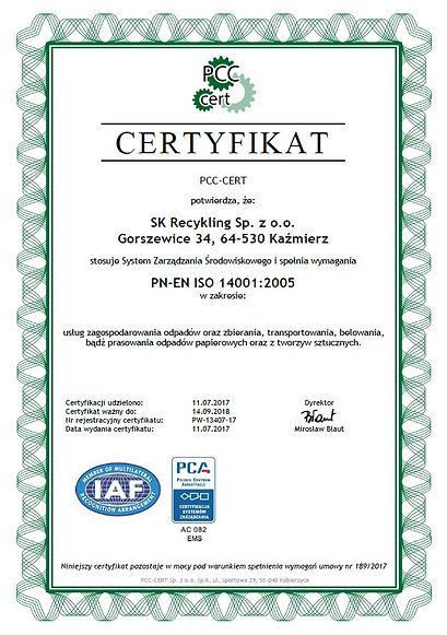Certyfikat PN-EN ISO 14001:2005