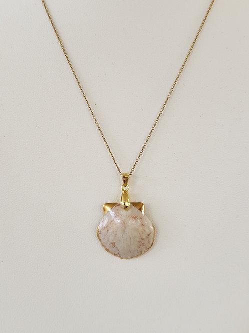 Porcelain Sea Shell Pendant 22K Gold Soft Pink