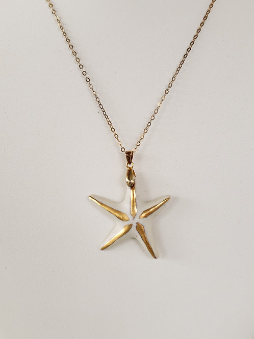 Porcelain Starfish Pendant with 22K Gold