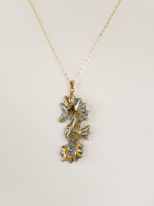 Porcelain Sea Horse Pendant 22K Gold Blue-Green