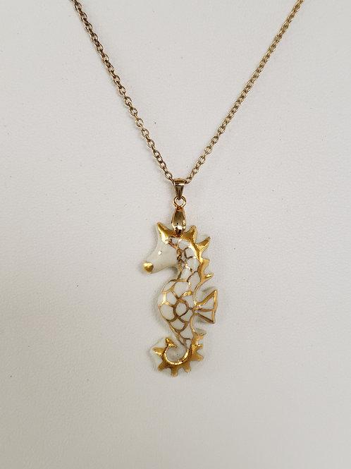 Seahorse Pendant White