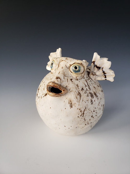 "Hand Sculpted Porcelain Puffer Fish ""Mez-Merized"""