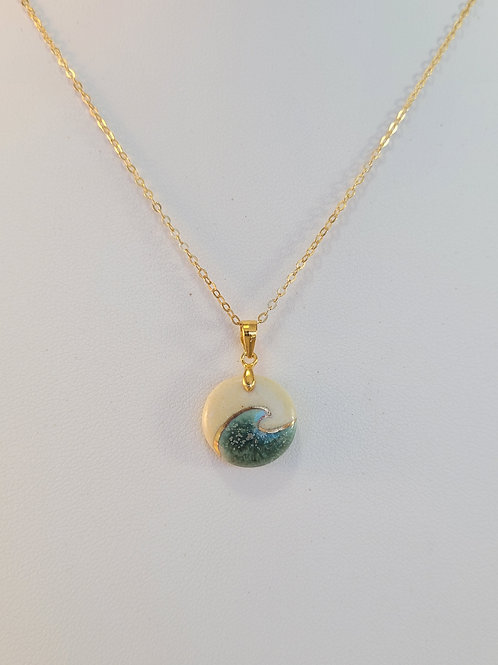 Porcelain Ocean Wave Pendant with 22K Gold