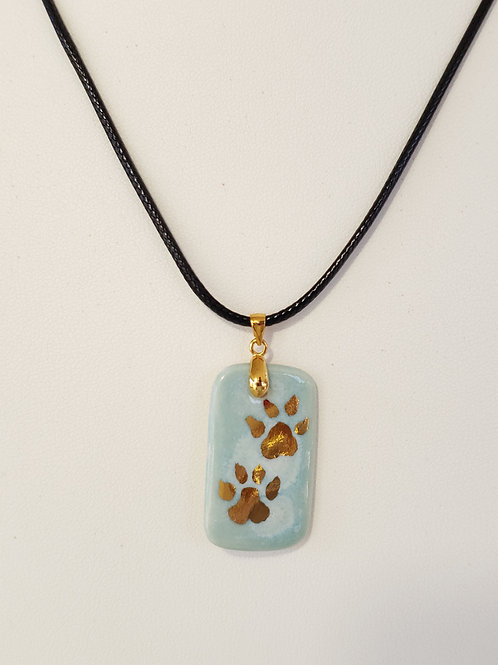 Paw Print Dog Tag Blue