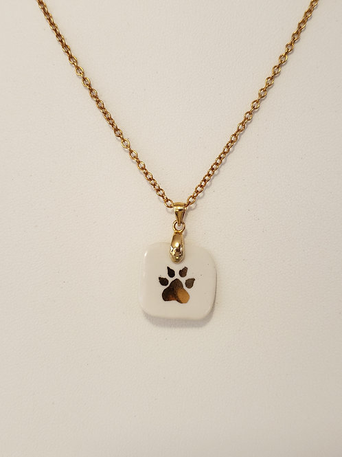 White Square Dog Paw Pendant