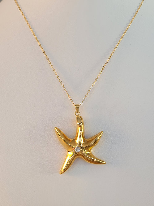 Gold Starfish Pendant With Crystal