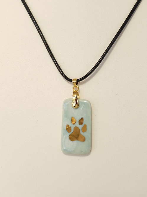 Light Blue Dog Paw Dog Tag