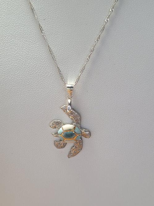 Multi-tone Blue Sea Turtle/Gold