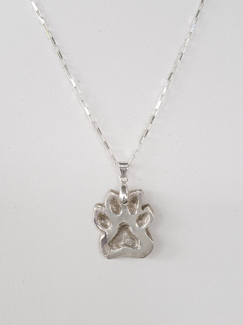 Genuine Silver Hand Sculpted Dog Paw Pendant