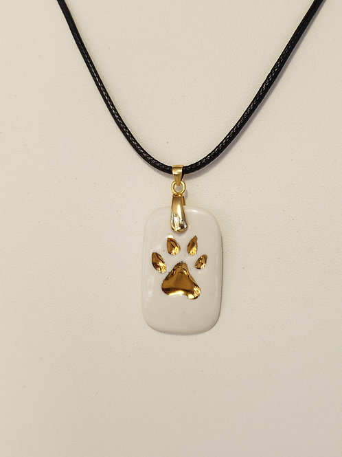 White Dog Paw Dog Tag