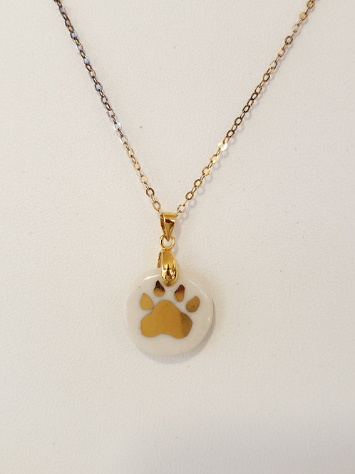 White Dog Paw Pendant