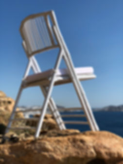 This bamboo wedding chair is ideal for an outdoor ceremony venue in Mykonos
