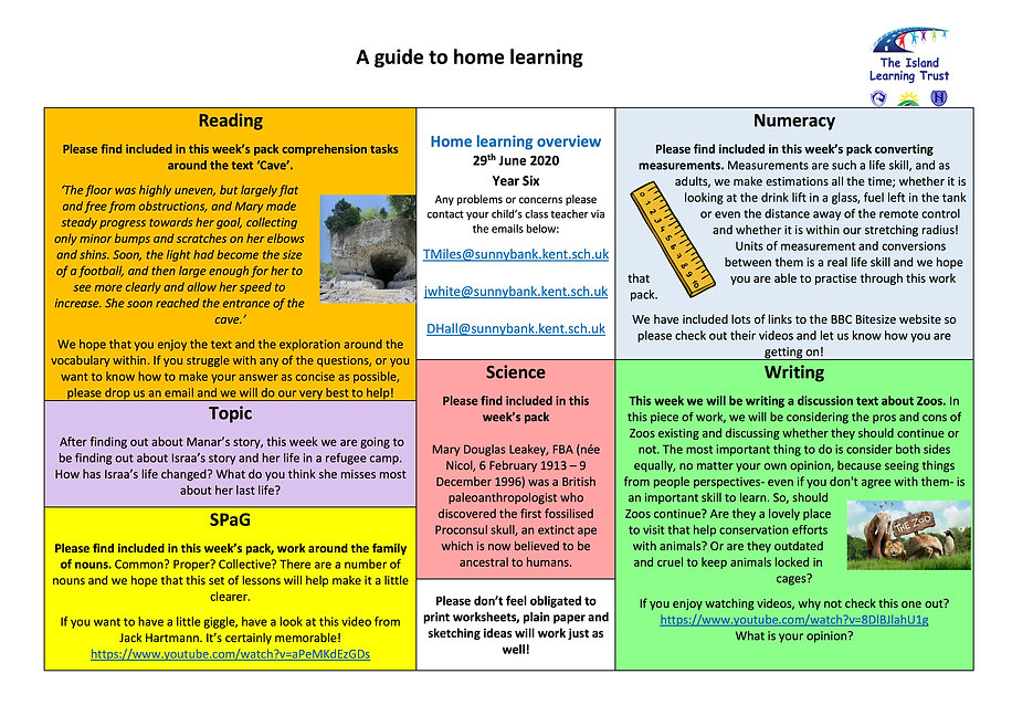 y6 SB - Overview for Parents and Carers.