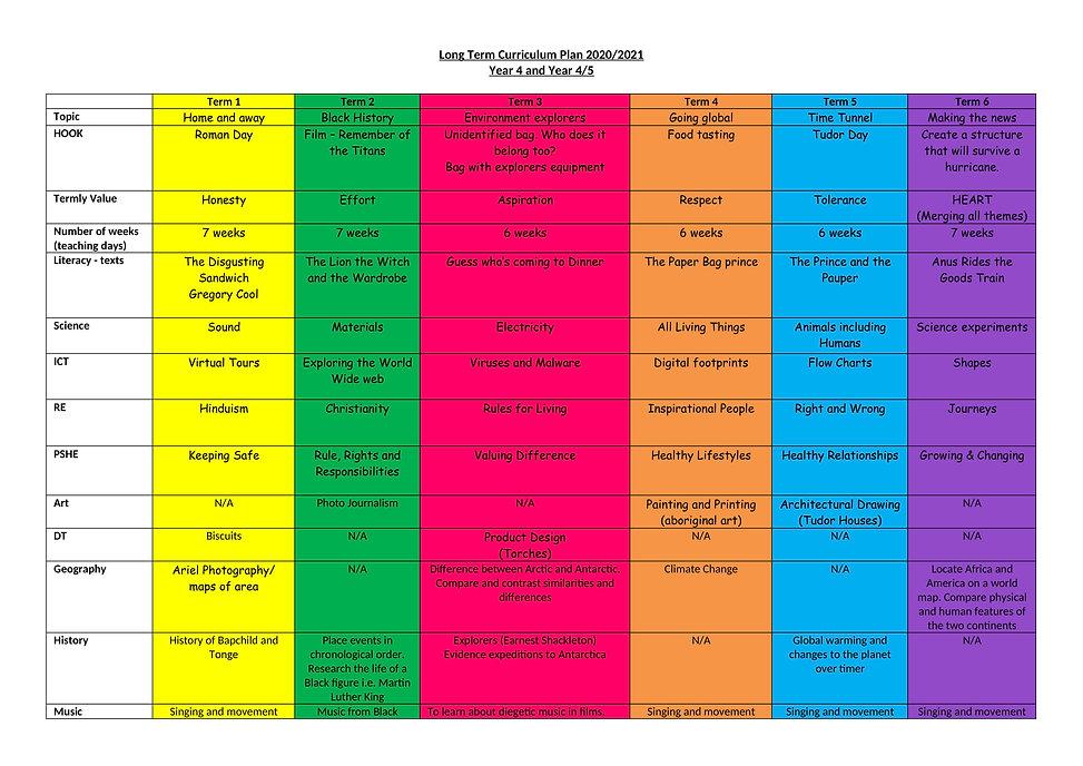 Long term curriculum planner Year 4 (1)-