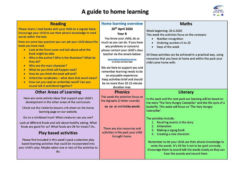 EYFS Sunnybank Home Learning pack 20.4.2