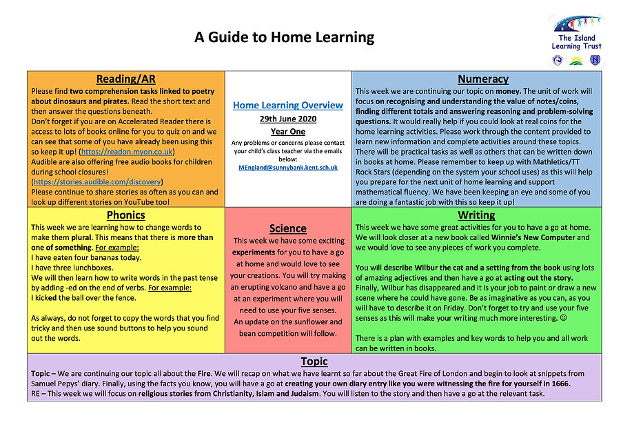 Y1 Overview for parents and carers WB 29