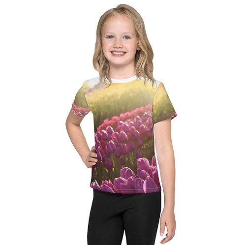 Kids T-Shirt Dark Purple Tulips