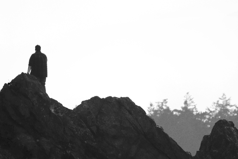 B&W Figure on Rocks