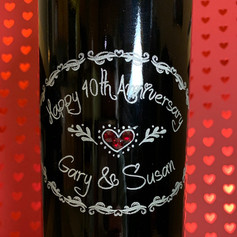 Engraved Red Wine Bottle