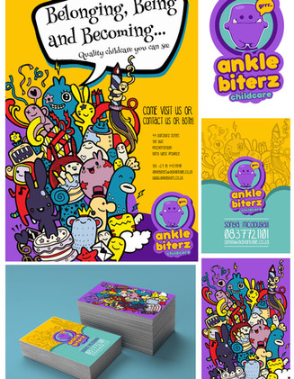 Stationery, poster design and online banner designs for Anklebiterz Childcare.