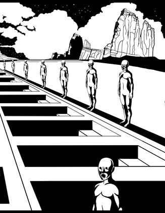 """Future Masters"" Black and White Illustration."
