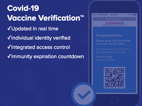 CLEARED4 LAUNCHES VACCINATION VERIFICATION PLATFORM WITH HUMAN API, SUPPORTING SAFE REOPENING