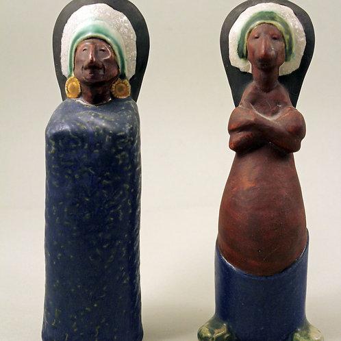Rolf Palm, Hoganas, Sweden. Pair of Stoneware Figurines