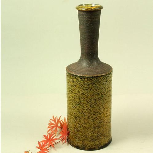 Nils Kahler, Denmark. Mid Century Stoneware Bottle Vase