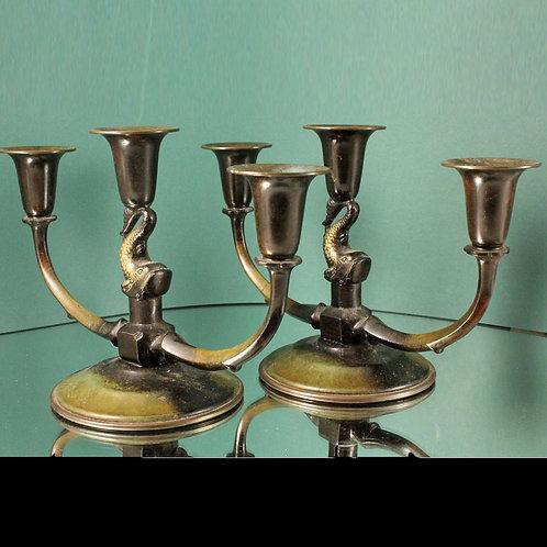 A pair of Art Deco Bronze Candelabras, Denmark