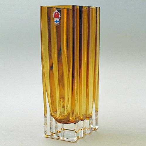 Amber Art Glass Vase, Humppila, Finland