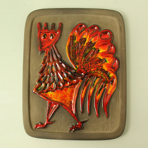 Deco, Sweden. Wall Hanging Plaque with Rooster in Bright Colours,