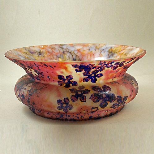 Art Nouveau Cameo Glass Bowl, HERO, Czechoslovakia