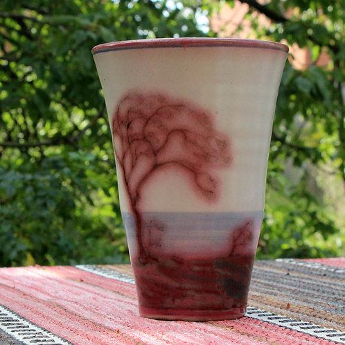 Thora Hjorth, L. Hjorth, Denmark. Stoneware Vase, Marble Glaze,