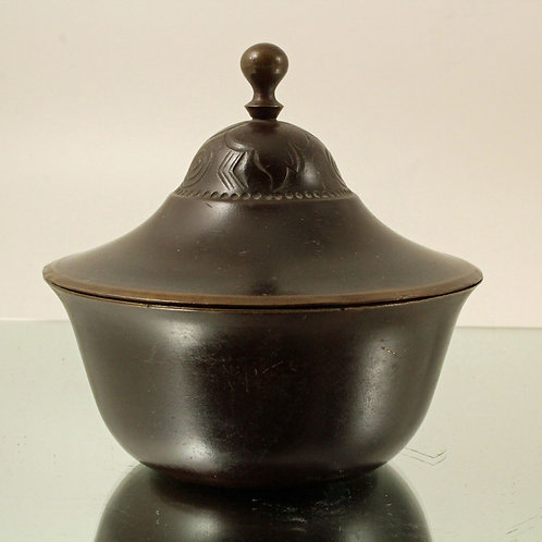 Reserved. Heavy Bronze Lidded Bowl, Just Andersen, Denmark