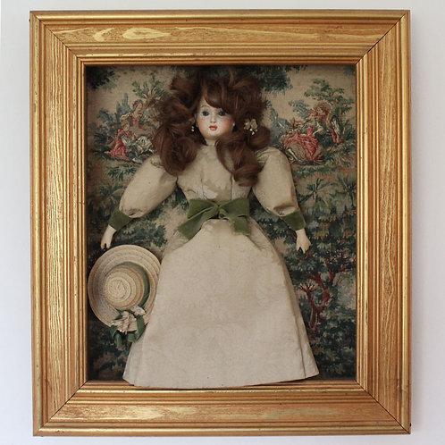 Rare Framed 3D Collage with Vintage Porcelain Doll
